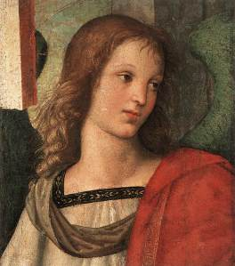 raphael - Angel (fragment of the Baronci Altarpiece). 1500-1501. Oil on wood. 31 x 27 cm. Pinacoteca Tosio Martinengo, Brescia