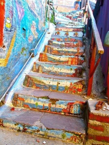 escalier peint