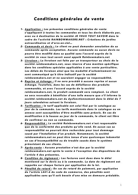 Conditions Générales de Vente des Fontaines àArcs-en-ciel